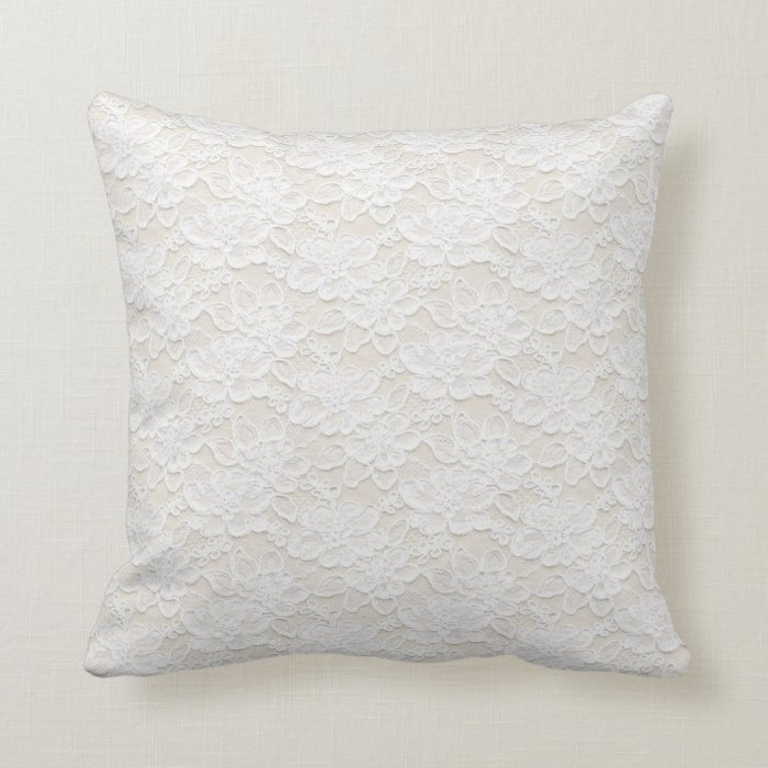 White Lace Throw Pillow : Romantic Lovely White Floral Lace Throw Pillow Zazzle