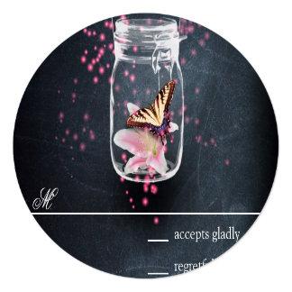 "Romantic Magic Jar with loto flower RSVP Invitación 5.25"" X 5.25"""