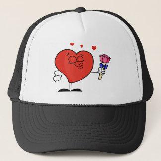 Romantic Male Red Heart Puckering His Lips Trucker Hat