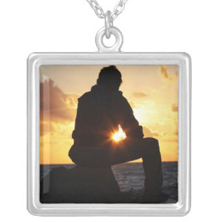 Romantic Man at Sunset Silver Plated Necklace