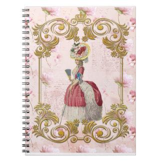 Romantic Marie Antoinette floral pink notebook