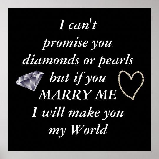 Romantic Marry Me Poem Poster Zazzlecom