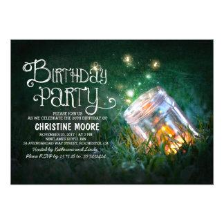 Romantic mason jar fireflies birthday party invite