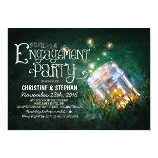 Romantic mason jar & fireflies engagement party card