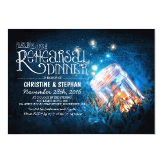 "Romantic mason jar & fireflies rehearsal dinner 5"" x 7"" invitation card"