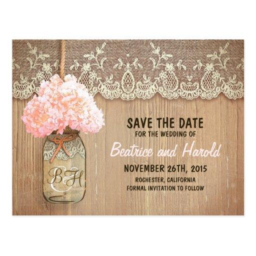 romantic mason jar pink flowers save the date postcards