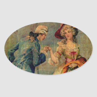Romantic Meeting Oval Sticker