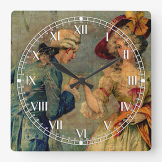 Romantic Meeting Square Wall Clock