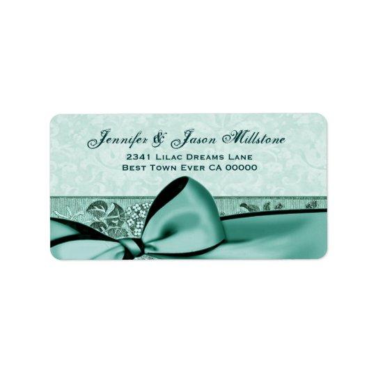 Romantic Mint Green Bow Bow Wedding Label