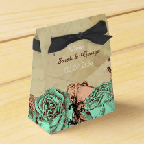 Romantic mint roses custom wedding favor boxes