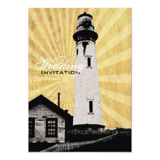 Romantic modern elegant Lighthouse beach Wedding Personalized Invitations