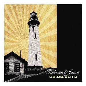 Romantic modern elegant Lighthouse beach Wedding 5.25x5.25 Square Paper Invitation Card
