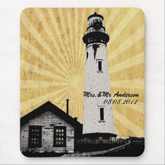 Romantic modern elegant Lighthouse beach Wedding Mouse Pad