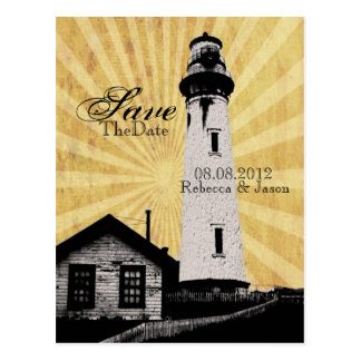 Romantic modern elegant Lighthouse Save the date Postcard