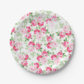 Romantic modern pink white trendy roses floral paper plate