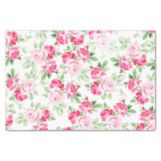 Romantic modern pink white trendy roses floral tissue paper