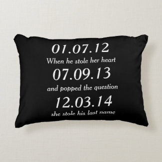Romantic Moments Personalized Dates Custom Wedding Decorative Pillow