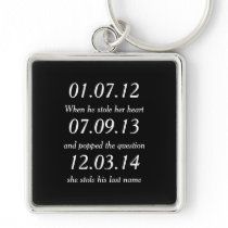 Romantic Moments Personalized Dates Custom Wedding Keychain