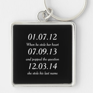 Romantic Moments Personalized Dates Custom Wedding Silver-Colored Square Keychain