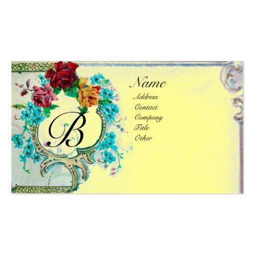 ROMANTIC MONOGRAM 3 Double-Sided STANDARD BUSINESS CARDS (Pack OF 100)