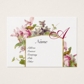 ROMANTIC MONOGRAM,Cyclamens pink green gold Business Card