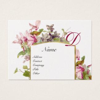 ROMANTIC MONOGRAM,Cyclamens pink green platinum Business Card