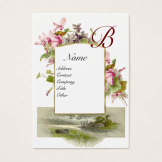 ROMANTIC MONOGRAM,Cyclamens pink green white Business Card