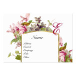 ROMANTIC MONOGRAM,Cyclamens pink green white Large Business Card