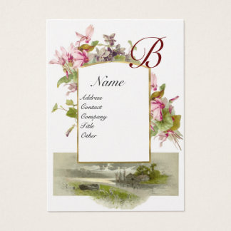 ROMANTIC MONOGRAM,Cyclamens pink green white pearl Business Card