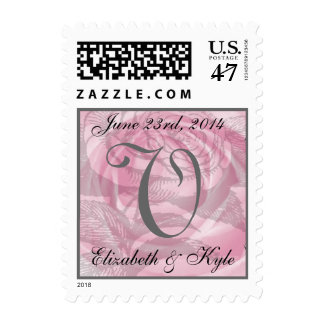 Romantic Monogram Letter V Pink Rose Stamp