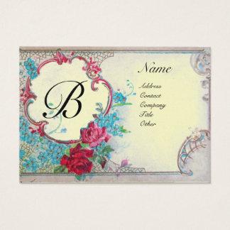 ROMANTIC MONOGRAM, platinum metallic paper,silver Business Card