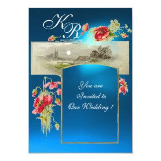 ROMANTİC MONOGRAM /POPPIES,red,green blue sapphire Card
