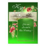 ROMANTİC MONOGRAM / POPPIES,red,green emerald Personalized Invitations