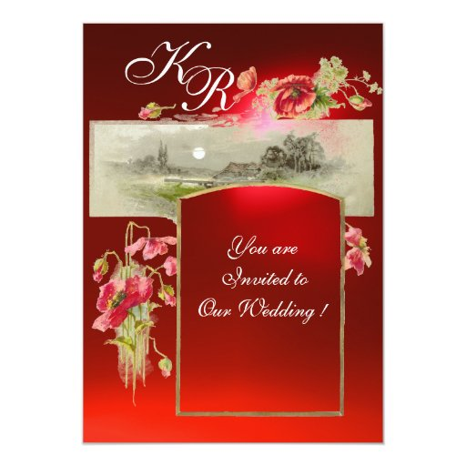 ROMANTİC MONOGRAM / POPPIES,red,green,red ruby Card