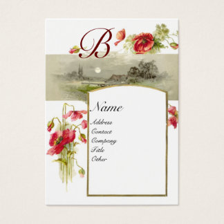 ROMANTIC MONOGRAM, POPPIES red green white Business Card