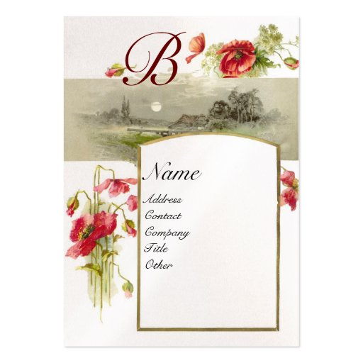 ROMANTIC MONOGRAM, POPPIES red green white pearl Business Card Templates