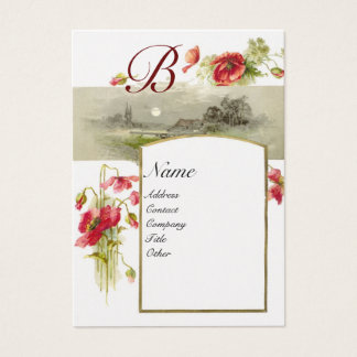 ROMANTIC MONOGRAM, POPPIES red green white pearl Business Card
