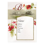 ROMANTIC MONOGRAM, POPPIES red green white pearl Large Business Cards (Pack Of 100)