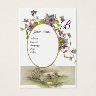 ROMANTIC MONOGRAM,VIOLETS purple green eggshell Business Card
