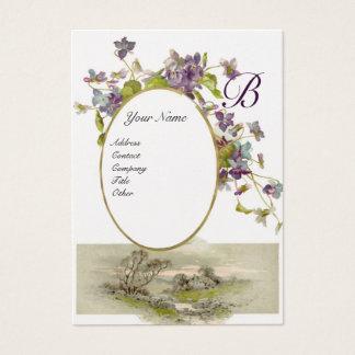 ROMANTIC MONOGRAM,VIOLETS purple green silver Business Card