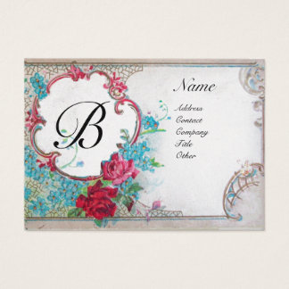 ROMANTIC MONOGRAM, white pearl  paper Business Card