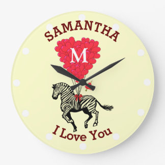 Romantic monogrammed zebra personalized large clock