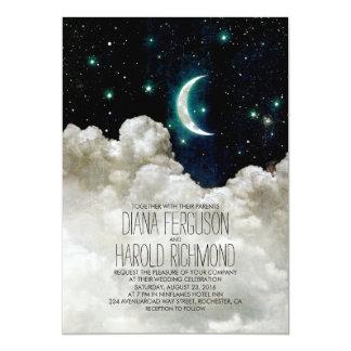 Romantic Moon And Stars Night Wedding Invitations