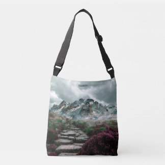 Romantic Mountains With Old Stone Road And Flowers Crossbody Bag