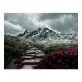 Romantic Mountains With Old Stone Road And Flowers Poster
