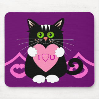Romantic mousepad with cat