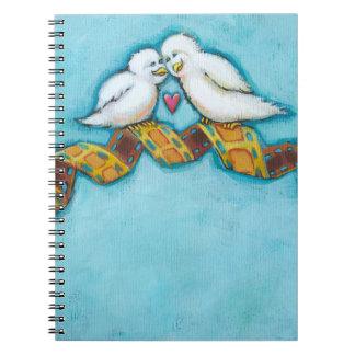 Romantic movie adorable love birds film buffs date notebook