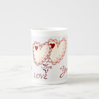 Romantic mug with lace Hearts and Text Tea Cup