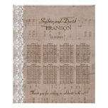 Romantic Music Sheet & Lace Wedding Seating Chart
