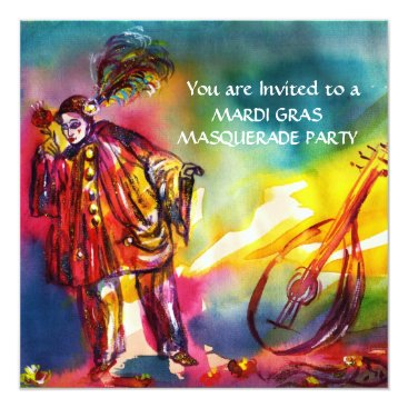 Halloween Themed ROMANTIC MUSICAL PIERROT AND ROSES Mardi Gras Card